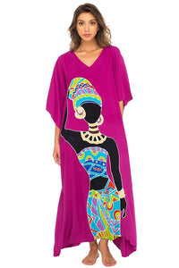 Back From Bali Womens Long African Print Beach Swim Suit Cover Up Caftan Poncho