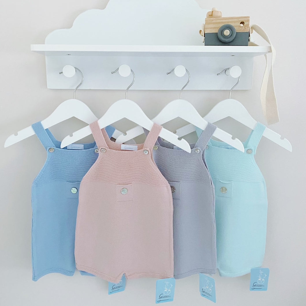 LINDEN - Artesania Granlei Knitted Shortie Dungarees in 4 Colour Options