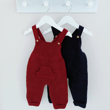 Load image into Gallery viewer, SCOTTIE - Minhon Knitted Dungarees in Navy or Burgundy