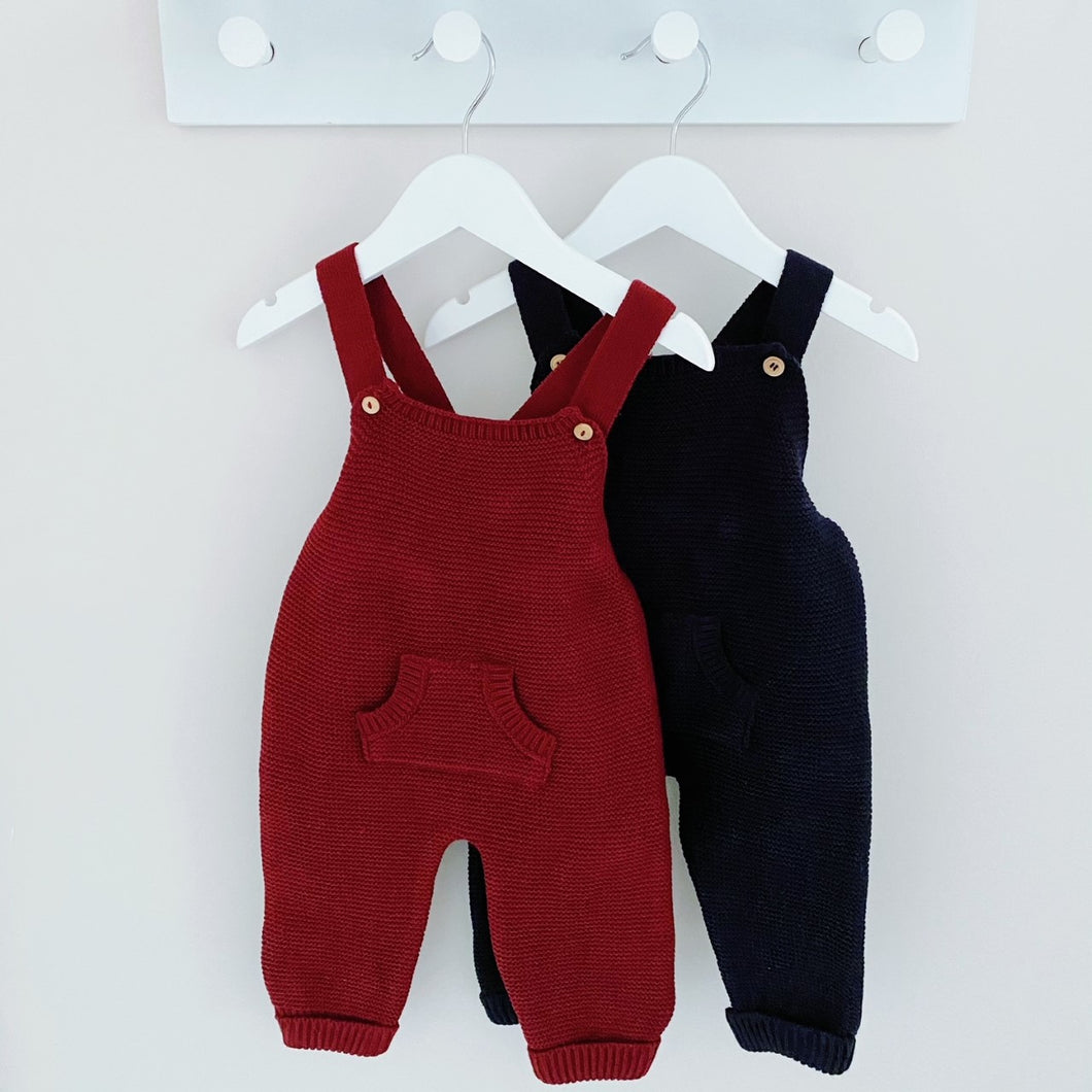 SCOTTIE - Minhon Knitted Dungarees in Navy or Burgundy