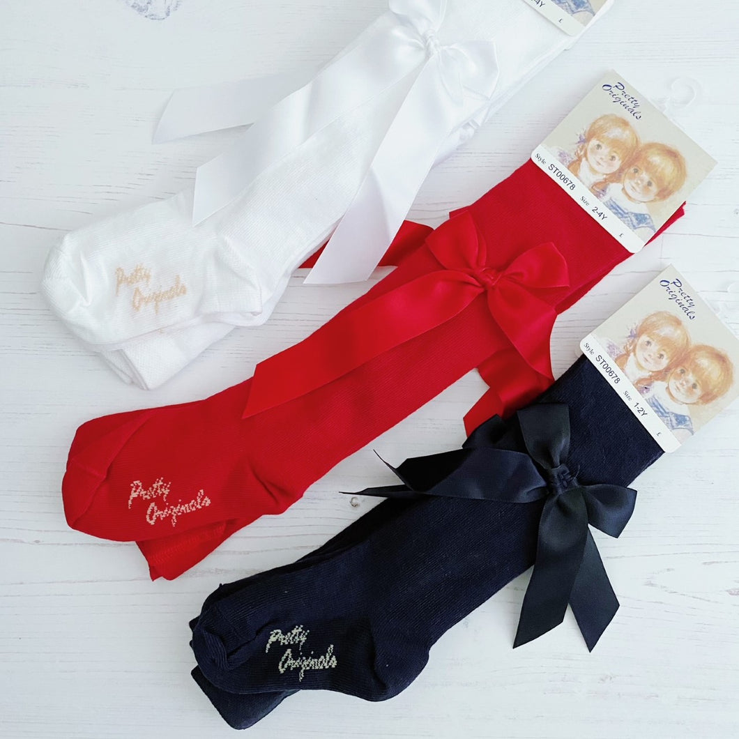 Pretty Originals Bow Tights in Red, Navy or White