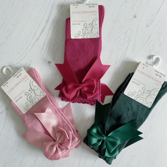 Carlomagno Knee High Bow Socks in Green, Dusky Pink or Burgundy