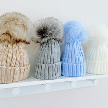 Load image into Gallery viewer, Ribbed Large Faux Fur Pom Pom Hat in 4 Different Colours