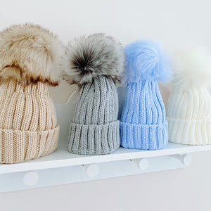 Ribbed Large Faux Fur Pom Pom Hat in 4 Different Colours