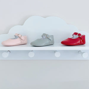 Sardon Patent Pram Shoes in Red, Grey or Pink