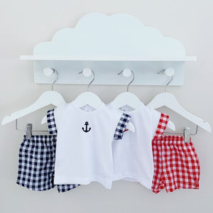 BAY - White and Navy or Red Gingham Shorts Set