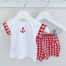 Load image into Gallery viewer, BAY - White and Navy or Red Gingham Shorts Set