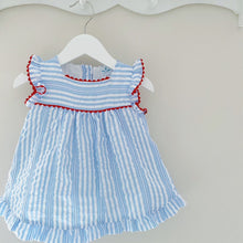 Load image into Gallery viewer, OLIVIA - Sardon Blue and White Stripe Dress