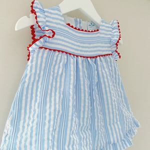 OLIVIA - Sardon Blue and White Stripe Dress