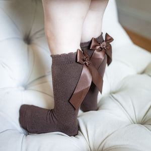 Pretty Originals Knee High Bow Socks in Camel, Red, Navy, Cream or Brown