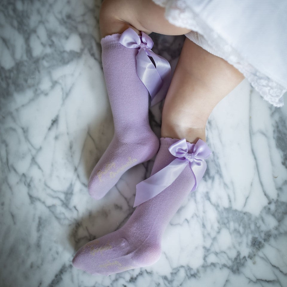 Pretty Originals Knee High Bow Socks in Blue, Pink, Lilac or White