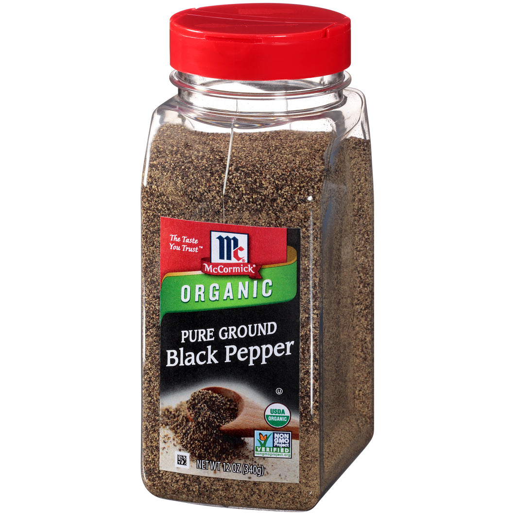 McCormick Ground Organic Pepper Black, 12 oz