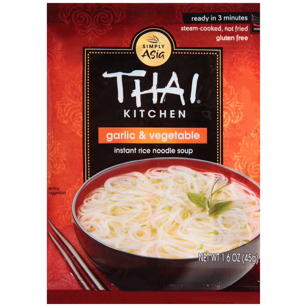 Thai Kitchen Gluten Free Garlic & Vegetable Instant Rice Noodle Soup, 1.6 oz (12-Pack)