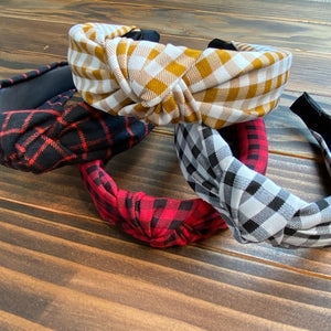 Red and Black Gingham Plaid Women's One Size Knotted Fashion Headband
