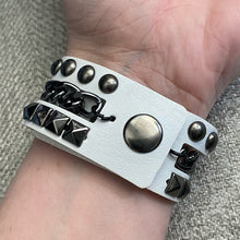 Load image into Gallery viewer, White Vegan Leather Rocker Studded Goth Punker Cuff Bracelet