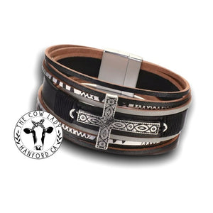 Western Leather Cowgirl Cuff Cross Charm Western Black Wrap Bracelet