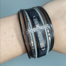 Load image into Gallery viewer, Western Leather Cowgirl Cuff Cross Charm Western Black Wrap Bracelet