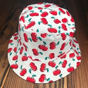 Cherry Print 🍒 Retro Pattern Bucket Hat Pinup Reversible Trendy Panama Cap