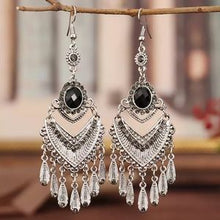Load image into Gallery viewer, Vintage Black Silver Dangle Statement Earrings Elegant