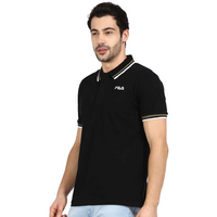 FILA Black Polo Shirt with Green and White Tips