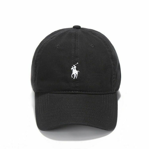 Ralph Lauren Black and White Pony Baseball Cap