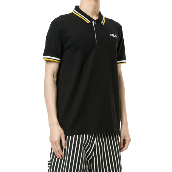 FILA Black Polo Shirt with White and Yellow Tips