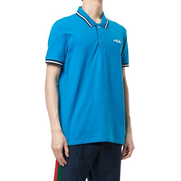 FILA Blue Polo Shirt with Black and White Tips