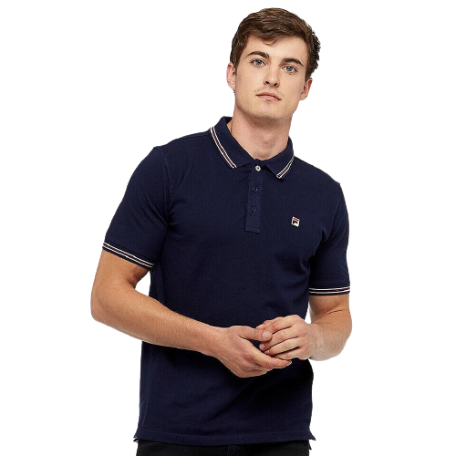FILA Navy Matcho Polo Shirt with Black and White Tips
