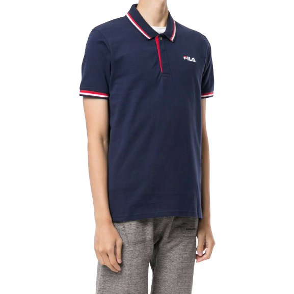FILA Navy Polo Shirt with Red and White Tips