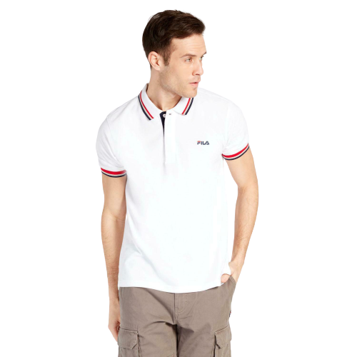 FILA White Polo Shirt with Red and Black Tips