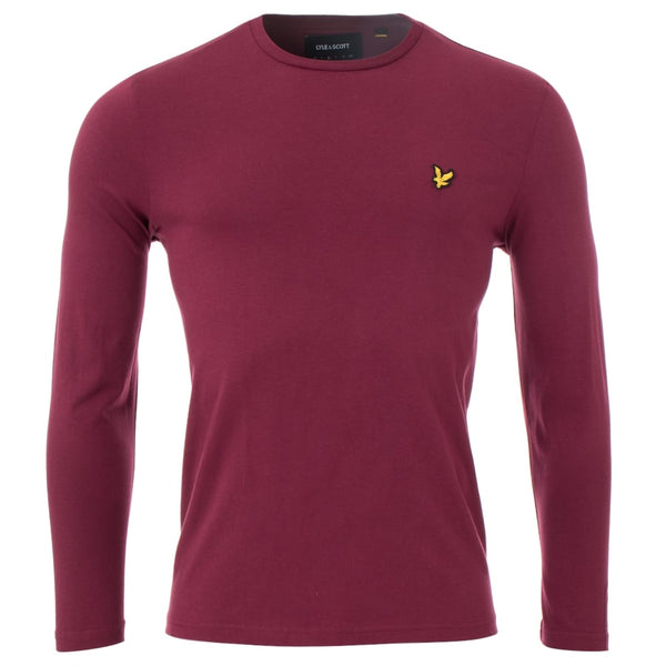 Lyle and Scott Burgundy Long Sleeve Crew Neck T-Shirt