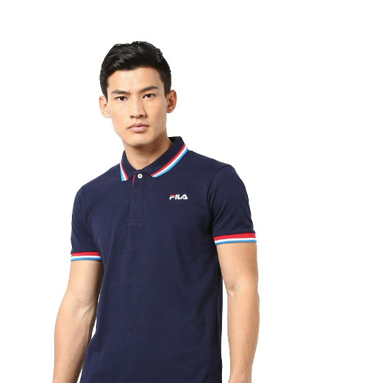 FILA Navy Polo Shirt with Red and Light Blue Tips