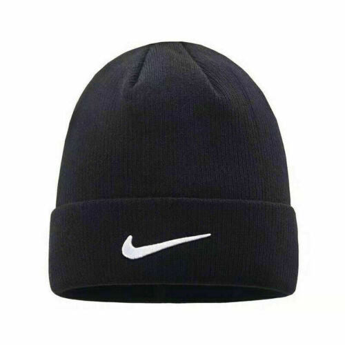 Nike Adult Knitted Mens Black Urban long Peak Stretch Fit Beanie Hat Winter Cap