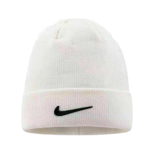 Nike White Beanie With Black Tick