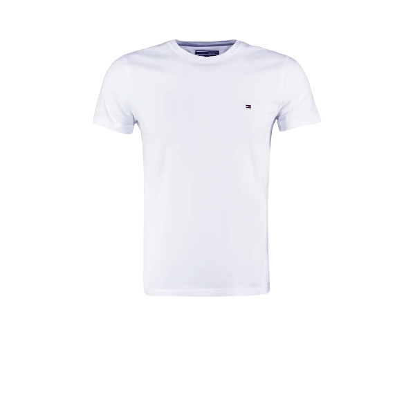Tommy Hilfiger White Small Logo Short Sleeve Crew Neck T-Shirt