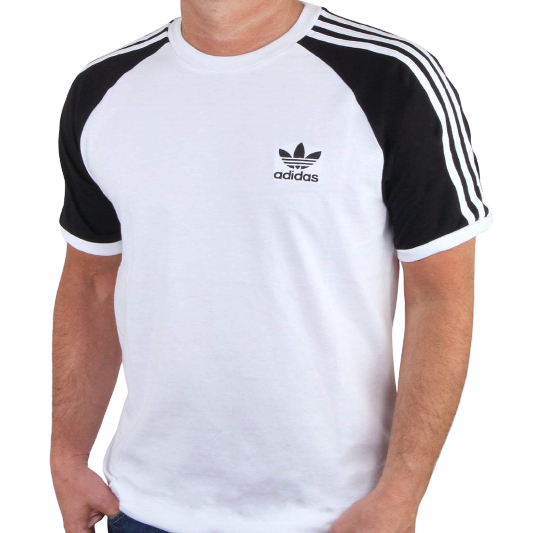 Adidas Originals White with Black Sleeves California 3 Stripes Crew Neck T-Shirt