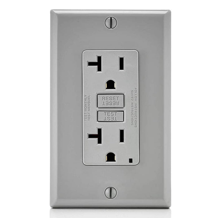 AC Outlet | 20 Amp GFCI Decorator Residential-Commercial (Gray) - Conversions Technology