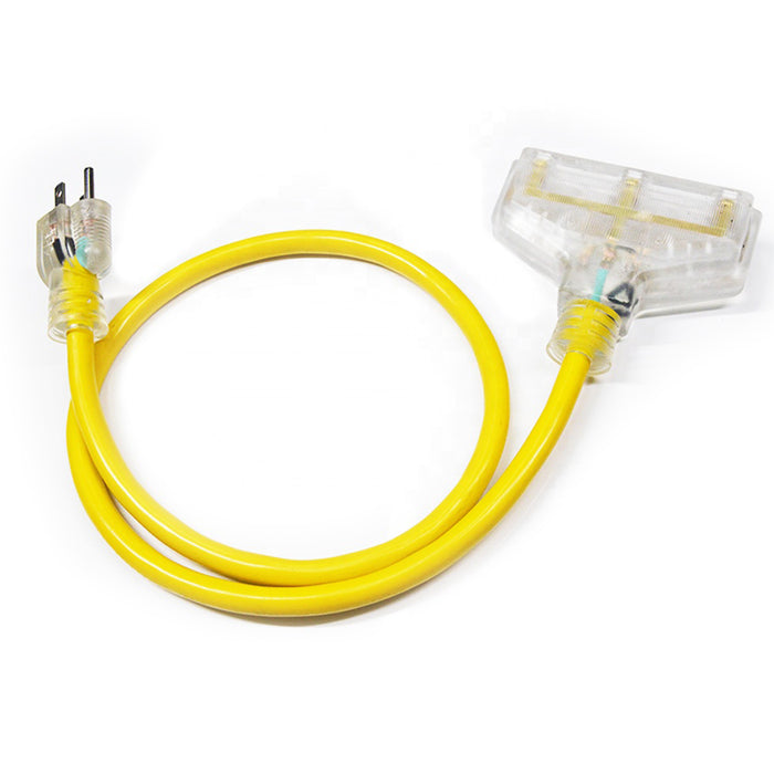 Extension Cord | 2 foot12/3 Tri-tap 3-Outlet Contractor Extension Cord - Conversions Technology