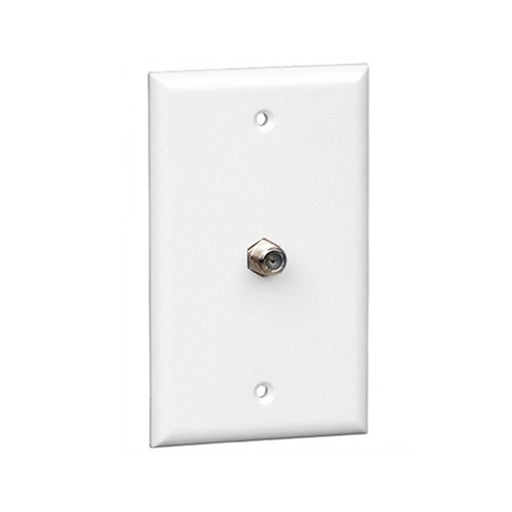 Wall Plate | F81 Coax | Single Port, White - Conversions Technology