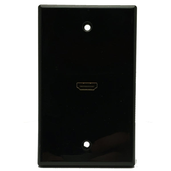 "HDMI Wall Plate | Black | HDMI | Single Port 6"" Cable, - Conversions Technology"