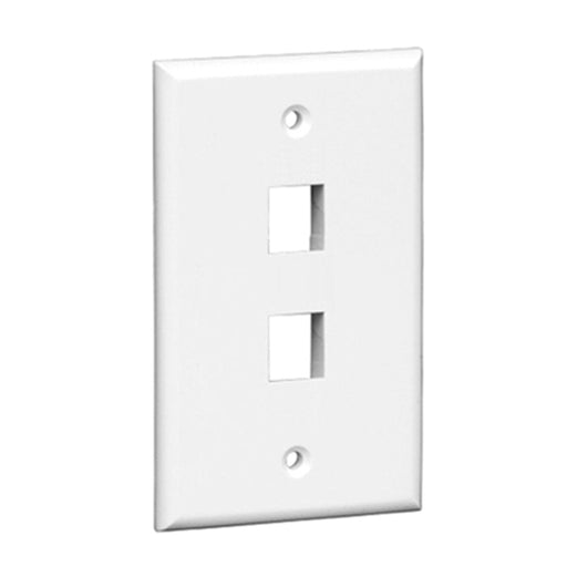 Keystone Wall Plate | 2 Hole, 1-Gang, White - Conversions Technology