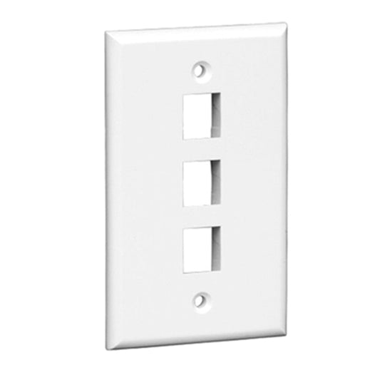 Keystone Wall Plate | 3 Hole, 1-Gang, White - Conversions Technology