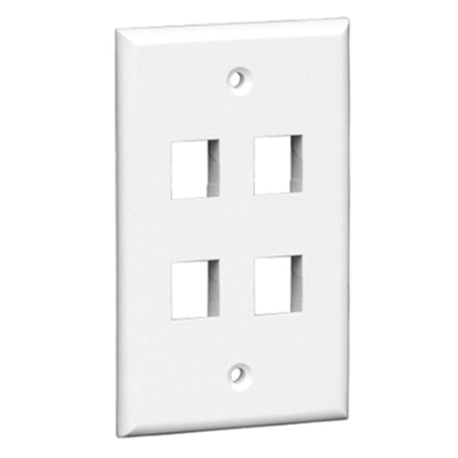 Keystone Wall Plate | 4 Hole, 1-Gang, White - Conversions Technology