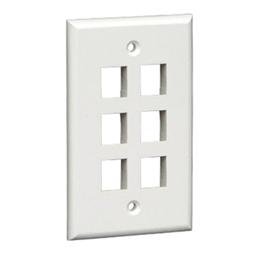 Keystone Wall Plate | 6 Hole, 1 Gang, White - Conversions Technology