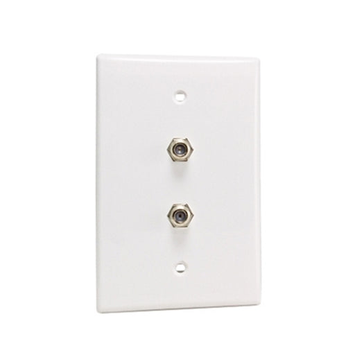 Wall Plate | F81 Coax | Dual Port, White - Conversions Technology