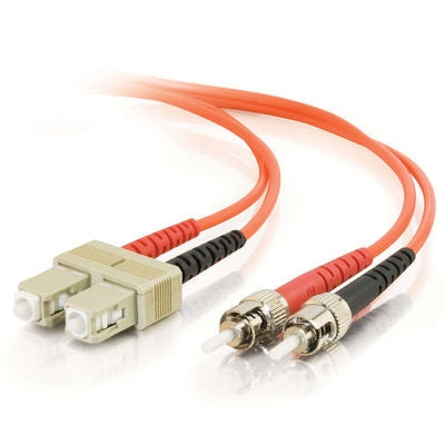 Fiber Optic Cable,  ST - SC  Duplex  50/125  Multimode,  w/Clips   3mm,  8M - Conversions Technology