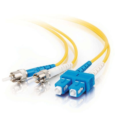 Fiber Optic Cable,  ST - SC  Duplex  9/125  Singlemode,   w/Clips   3mm,  25M - Conversions Technology