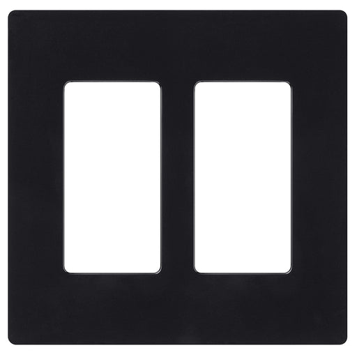 Screw less Face | Decorator Wall Plate | 2 Gang | Black - Conversions Technology