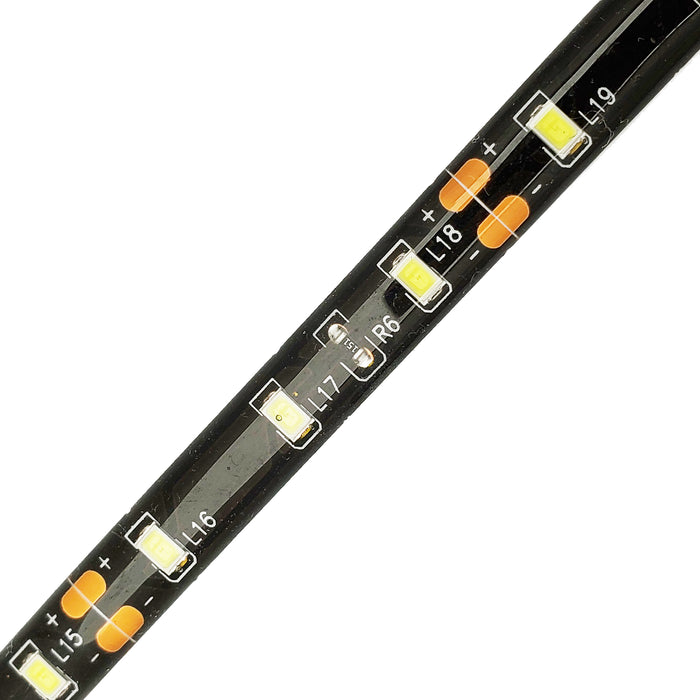 "Ribbon Light, Cool White,  60leds/m,  8mm,  12V,  12 inch leads,  black pcb,  IP65  39"" - Conversions Technology"