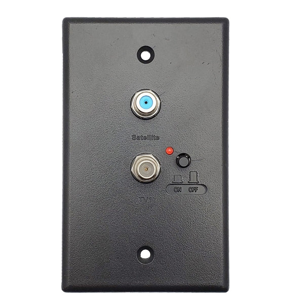 Powered Distribution Wall Plate | +2 TV outputs, on/off switch [Black] (Compatible with HD VISION 360® Antenna) - Conversions Technology
